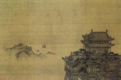 元 夏永《黄鹤楼图》局部,国立故宫博物院藏。(公有领域)
