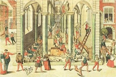1566年,加尔文派的新教徒正在毁坏安特卫普圣母主教座堂中的雕像与宗教画,图为弗拉芒版画家霍根贝格(Frans Hogenberg)所绘制。(公有领域)