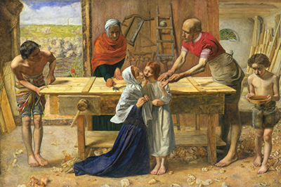 在寒微的环境中,耶稣没有受过传统的正规教育,有时和约瑟学习木匠活。图为[英]米莱斯,《耶稣在父母家》,布面油画,伦敦泰特美术馆藏。(公有领域)