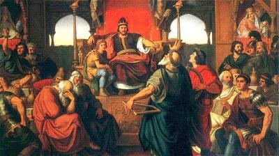 匈奴王阿提拉征服了罗马帝国及欧洲,图为Mór Than的作品:阿提拉的饮宴。(图片来源:维基百科)