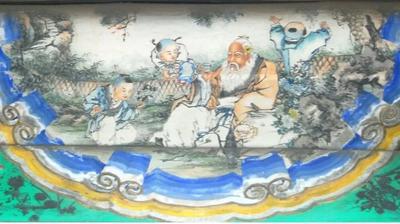 北京颐和园长廊彩绘《渊明爱菊》。(图片来源:维基百科)